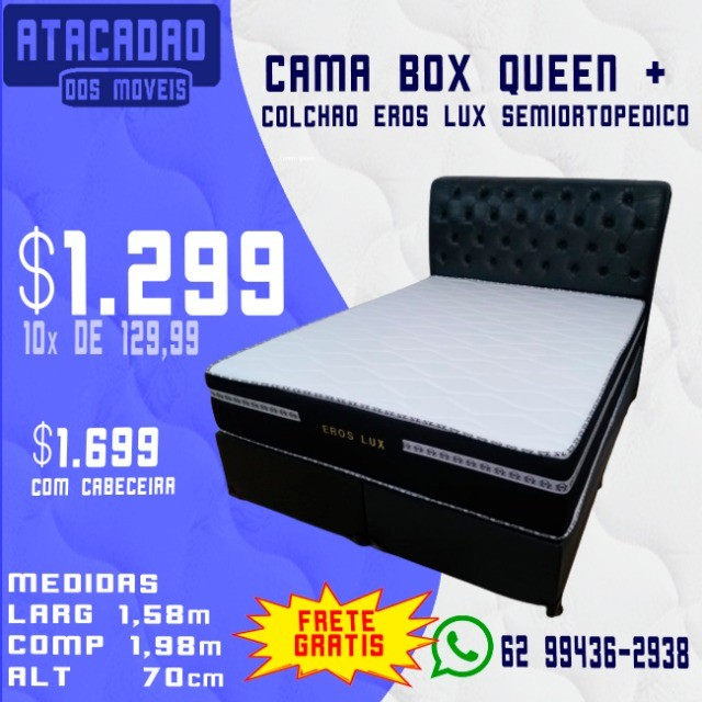 Cama Box Queen + Colchão Eros Lux Extra Firme