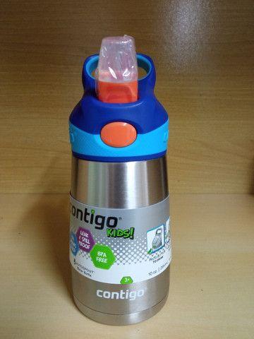 Garrafa Térmica Squeeze Infantil Contigo Autospout 295ml / 380 ml Inox Rosa/Azul - Foto 6