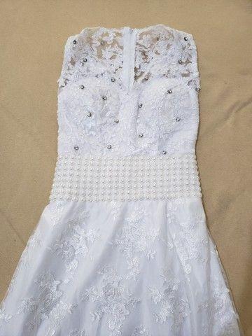 Vestido de noiva branco com renda - Foto 4
