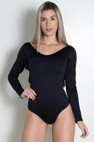 Body liso costa aberto com babado (preto)