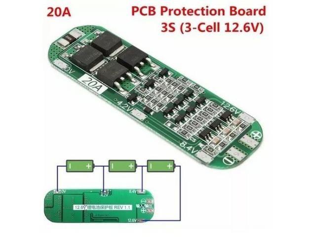 COD-AM147 Bms Placa 3s 12.6v 20a Li-ion Bateria De Lítio 18650 Arduino Automação Robot