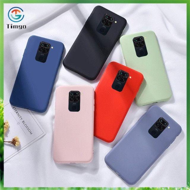 Pronta Entrega Capa Case Capinha Anti Impacto Xiaomi Redmi Note 9 Transparente e Colorida - Foto 3