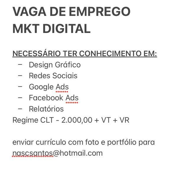 Vaga emprego Mkt Digital