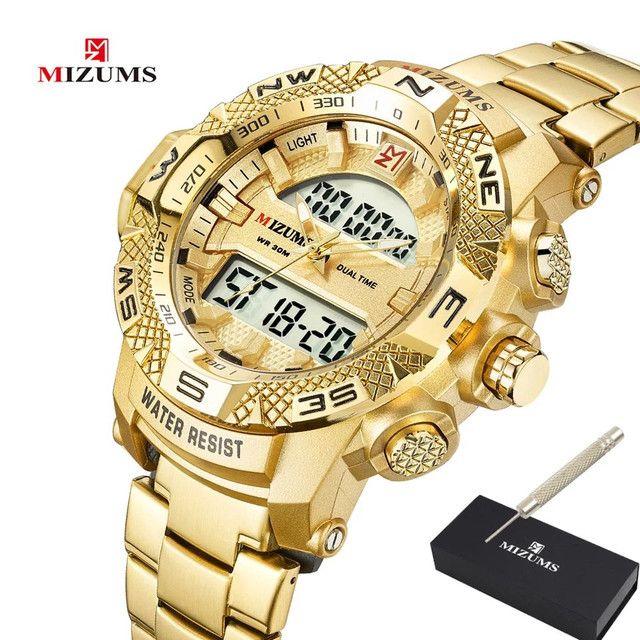 Relógio de quartzo de aço inoxidável ouro da moda de luxo da marca Mizums a prova D'água - Foto 2