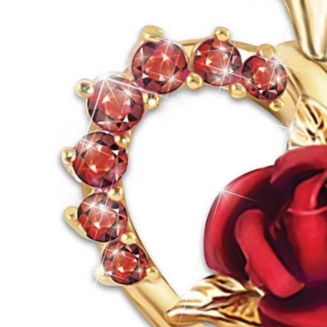Colar/gargantilha coração rosa vermelha - Foto 5