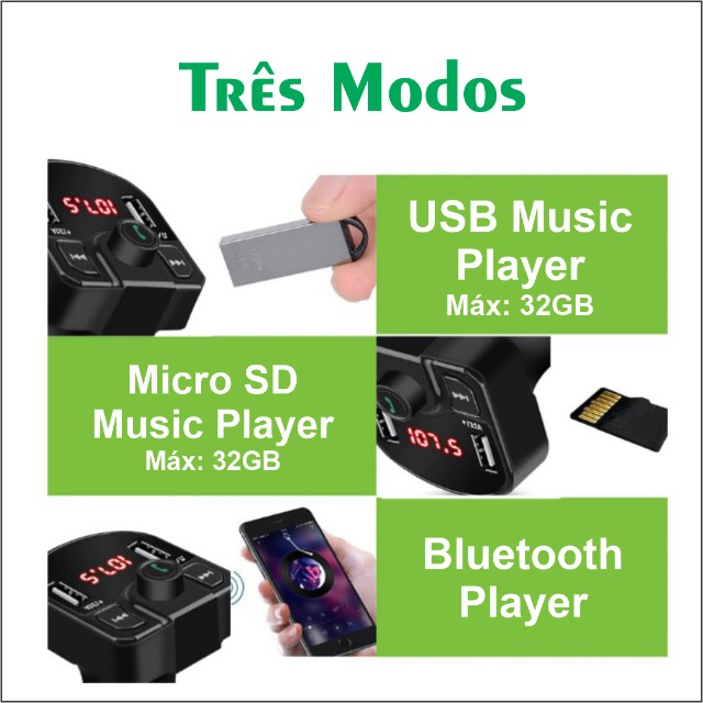 Transmissor Veicular Bluetooth FM - Foto 2