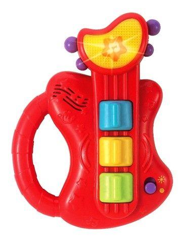 Mini Guitarra Brinquedo Musico Bebe Com Som E Luzes - Winfun - Foto 2