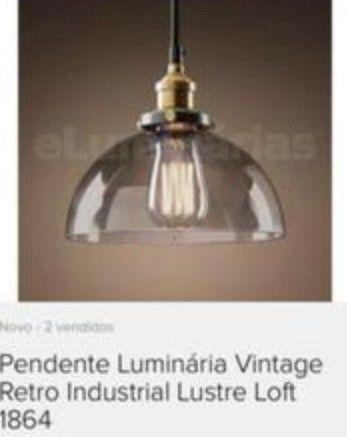 Pendente vintage/retrô com lâmpada de filamento