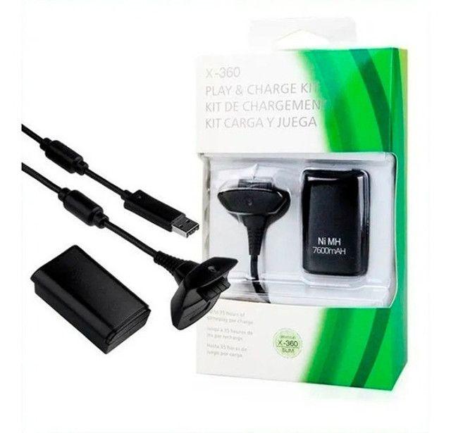 Bateria Para Controle Xbox 360 Com Cabo E Carregador Preto - frete gratis - Foto 3