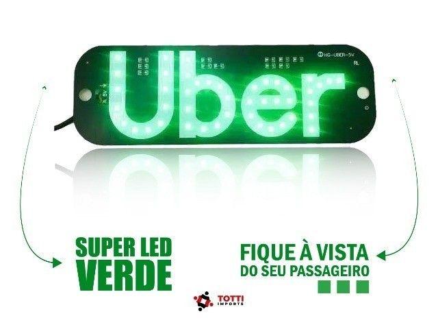 Placa Led Uber com Ventosas na cor Verde ou Azul
