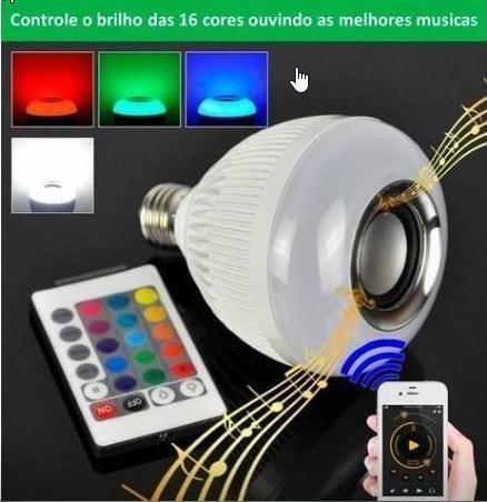 Lâmpada Muda De Cor E Com Som Bluetooth + Controle