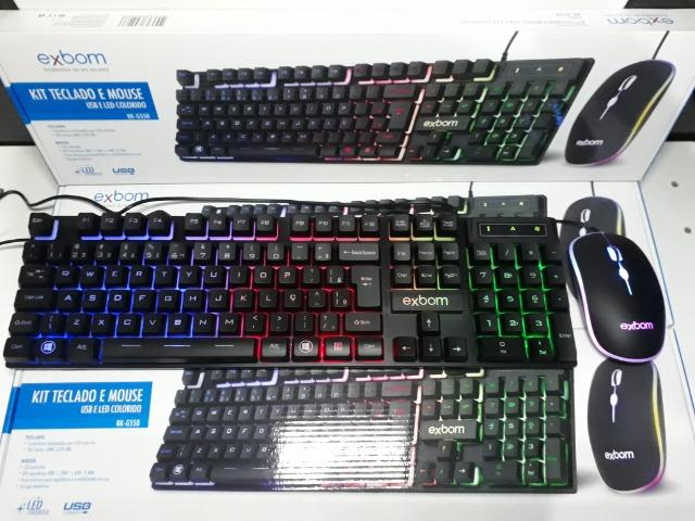KIT Gamer Teclado e Mouse USB e LED Colorido Exbom BK-G550 - Foto 4