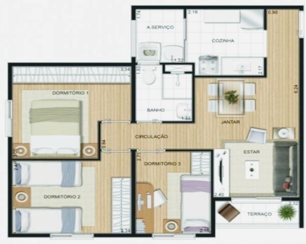 Vendo apartamento de 3 quartos por 135mil - Foto 2