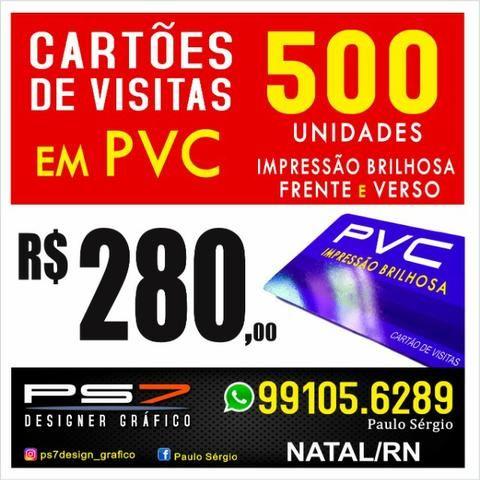 500 Cartões de visitas em PVC duro impressão brilhosa