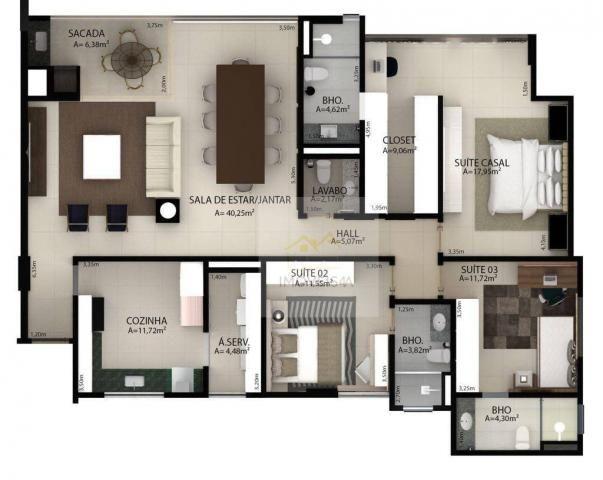 (Vende-se) Residencial Monte Cassino - Apartamento com 3 dormitórios à venda, 151 m² por R - Foto 3
