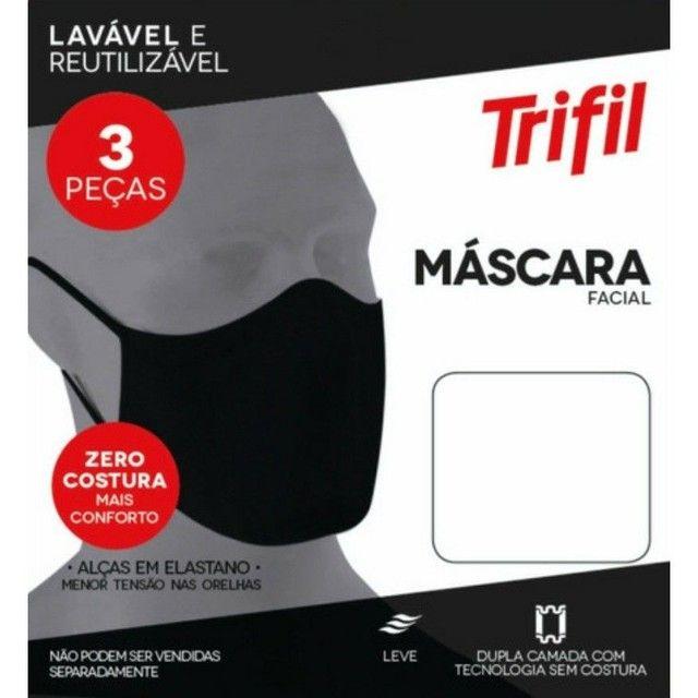 Kit com 3 Máscaras Microfibra Trifil, Único<br><br> - Foto 3