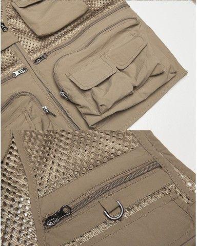 Jaqueta tecido mesh com bolsos bege XL (p/ acampamento, fotografia, pescaria, etc) - Foto 3