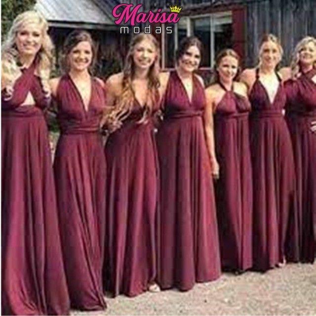 Vestido de Festa Vinho Vestido longo Vinho vestido Madrinhas vinho Multiformas