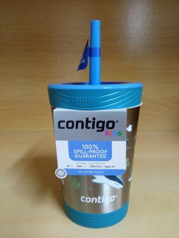 Garrafa Térmica Squeeze Infantil Contigo Autospout 295ml / 380 ml Inox Rosa/Azul - Foto 4