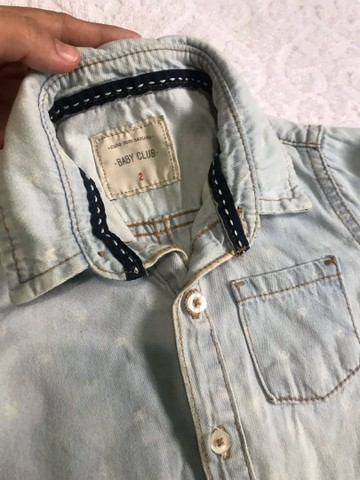 Camisa jeans claro menino  - Foto 4