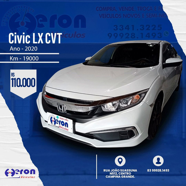 Civic LX CVT 2020 km 19.000