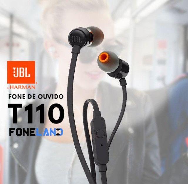 Pronta Entrega Original Fone De Ouvido Jbl T110 Preto Intra Auricular Com Microfone - Foto 4