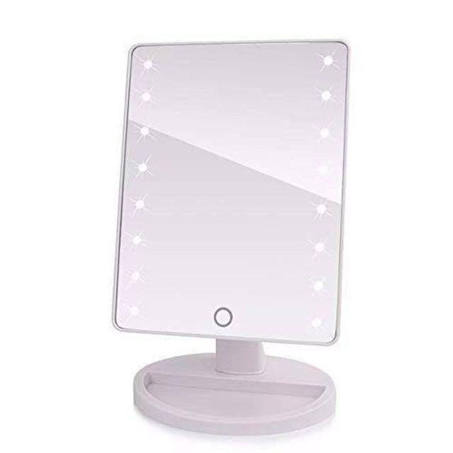 Espelho de mesa portátil com luz led