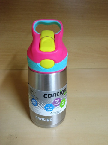Garrafa Térmica Squeeze Infantil Contigo Autospout 295ml / 380 ml Inox Rosa/Azul - Foto 5