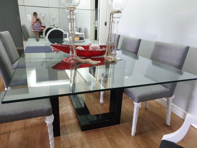 Vendo mesa de vidro com pé em laca - Foto 4