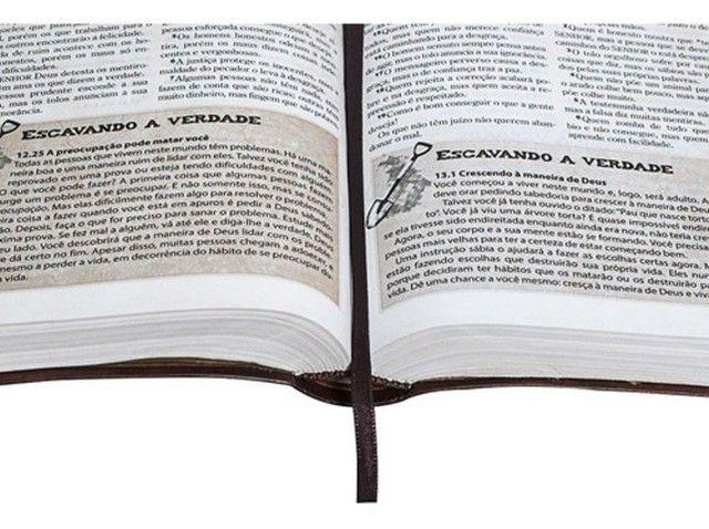 Bíblia Das Descobertas Para Adolescentes - Couro Marrom Sbb - Foto 3
