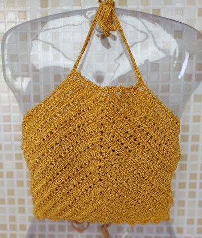 Cropped de Crochê Frente Única com Bojo   - Foto 4