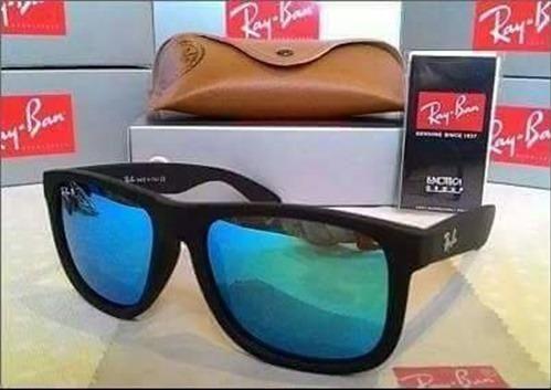 380d0a9fe7973 Óculos de Sol Ray Ban Justin Espelhado Azul 4165 Polarizado Unissex ...