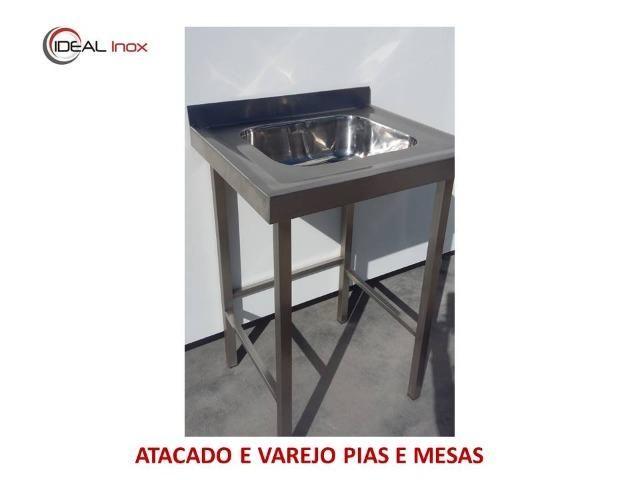 Pia industrial novo 100% em Inox - Com 1 cuba - Preço de fábrica