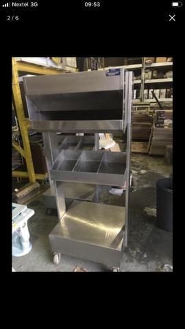 Porta talher, pratos e pães industrial. Tudo em aço inox!!!! - Foto 3