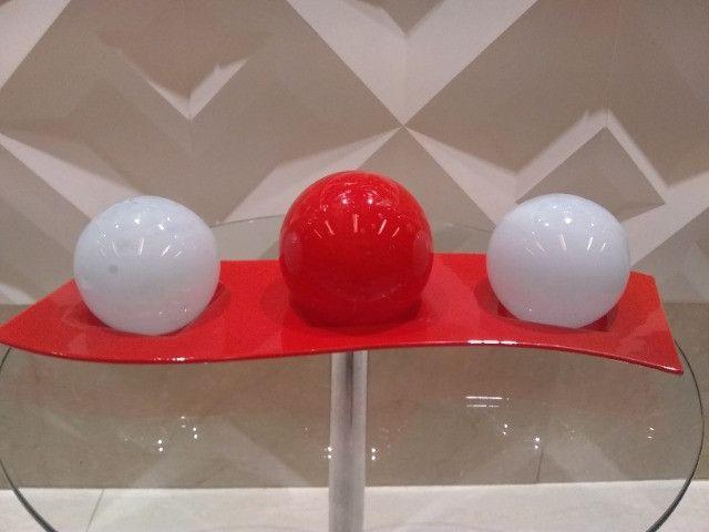 Centro de mesa bolas decorativas com suporte em vidro