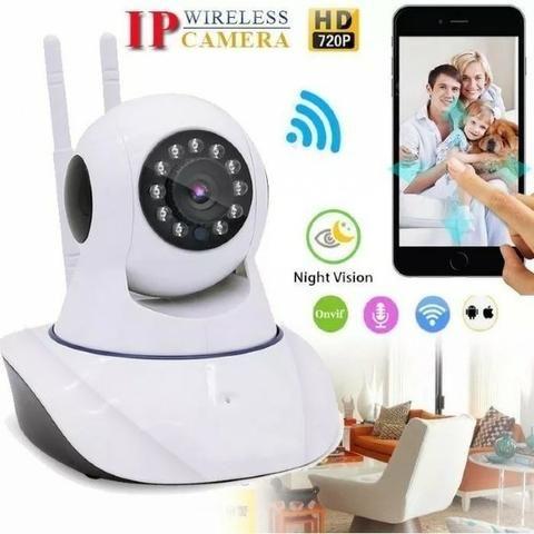Câmera Ip Wifi Segurança Hd Wireless P2p Visão Noturna 2 Antenas Onvif Captação Áudio - Foto 3