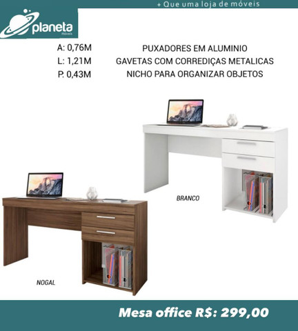 Mesa Escrivaninha Oficce com 2 gavetas