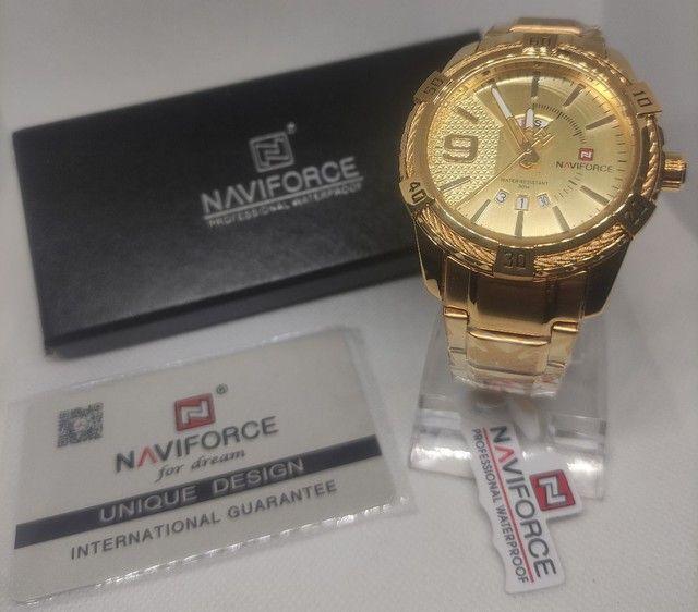 Relógio Ponteiro Naviforce Original Dourado