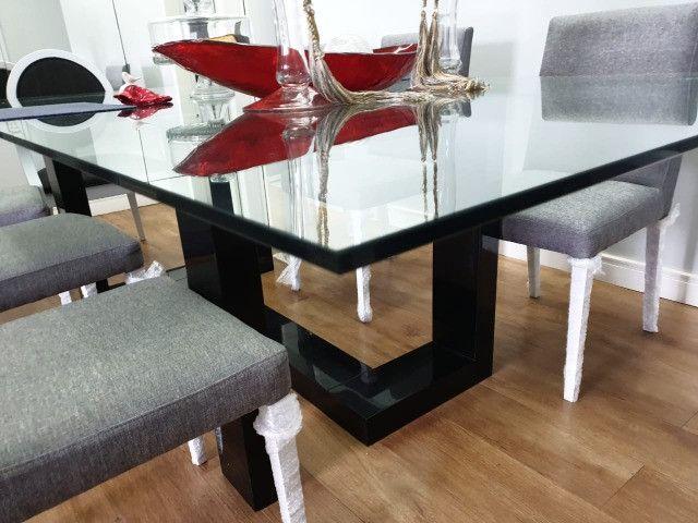 Vendo mesa de vidro com pé em laca - Foto 2