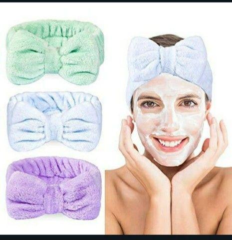 Faixa de cabelo maquiagem Skincare  - Foto 3