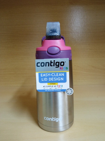 Garrafa Térmica Squeeze Infantil Contigo Autospout 295ml / 380 ml Inox Rosa/Azul - Foto 3
