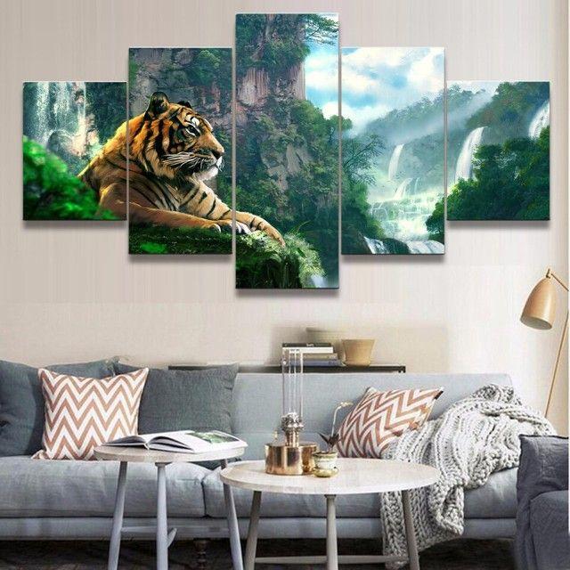 quadro personalizado tigre da floresta 5 partes