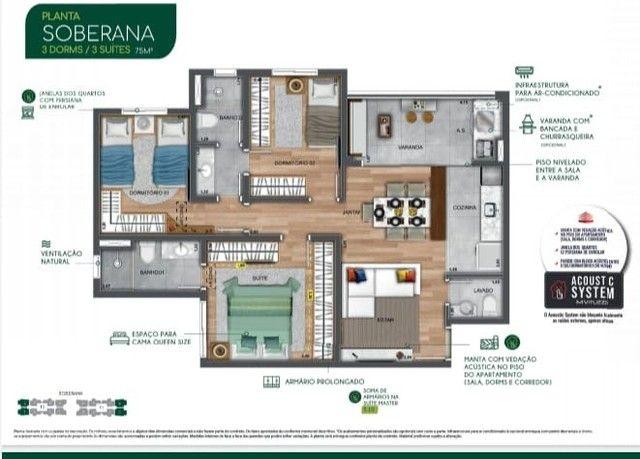JAC/ Apt com 3 dorms 75m² , com 2 vagas de garagem, condições especiais de entrada!