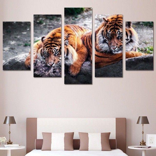 quadro personalizado tigre da floresta 5 partes - Foto 2