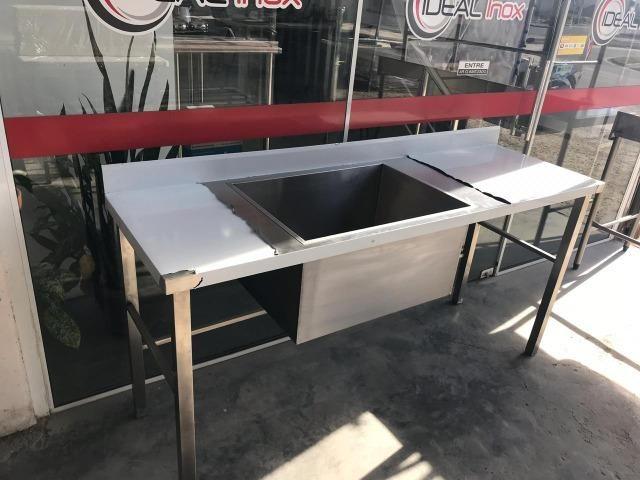 Pia Bancada nova industrial 1,80 metro de comprimento - Com 1 cuba tanque