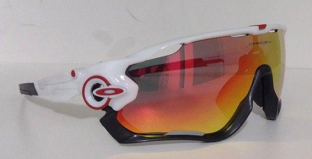 Óculos Ciclismo Oakley Jawbreaker Branco - Foto 3