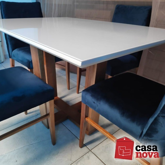 Mesa Berlim com 4 Cadeiras Roma Azul em Veludo NOVO! - Foto 2