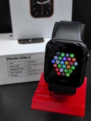 Relógio Inteligente Smartwatch Iwo w26 Plus Original Preto Rosa Top - Foto 5