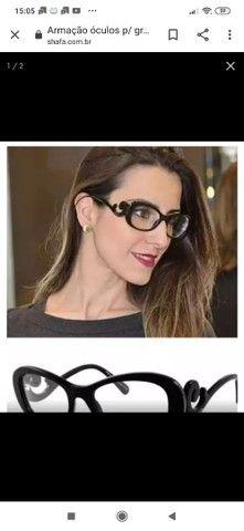 Armação óculos p/ grau baroque preto blogueiras prd +case, cor preto. - Foto 2
