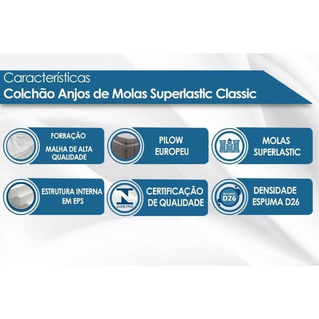 Colchão Anjos Molas Superlastic Classic Casal 138cm - Foto 3